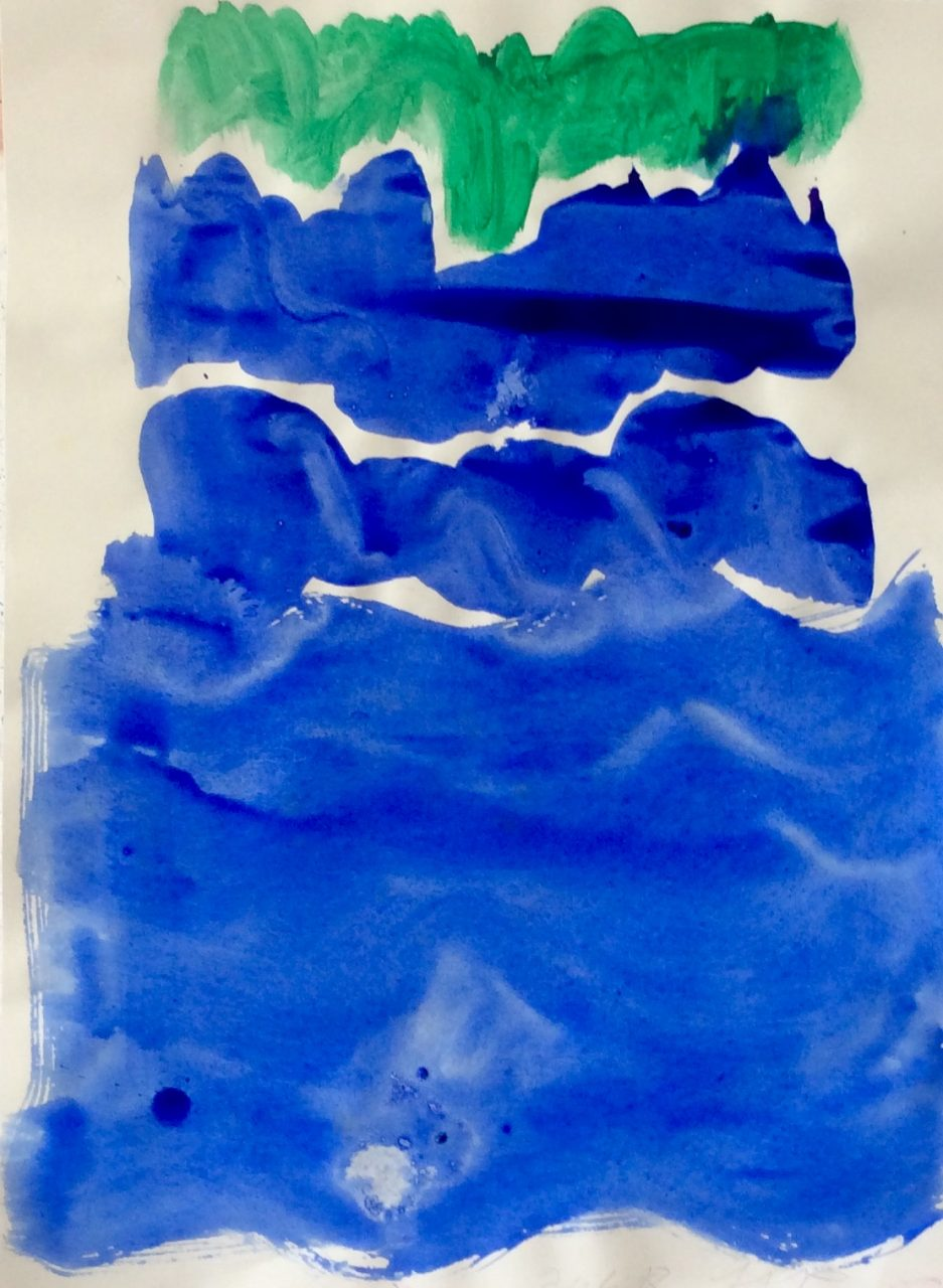 green and blue beach watercolor on paper 2018