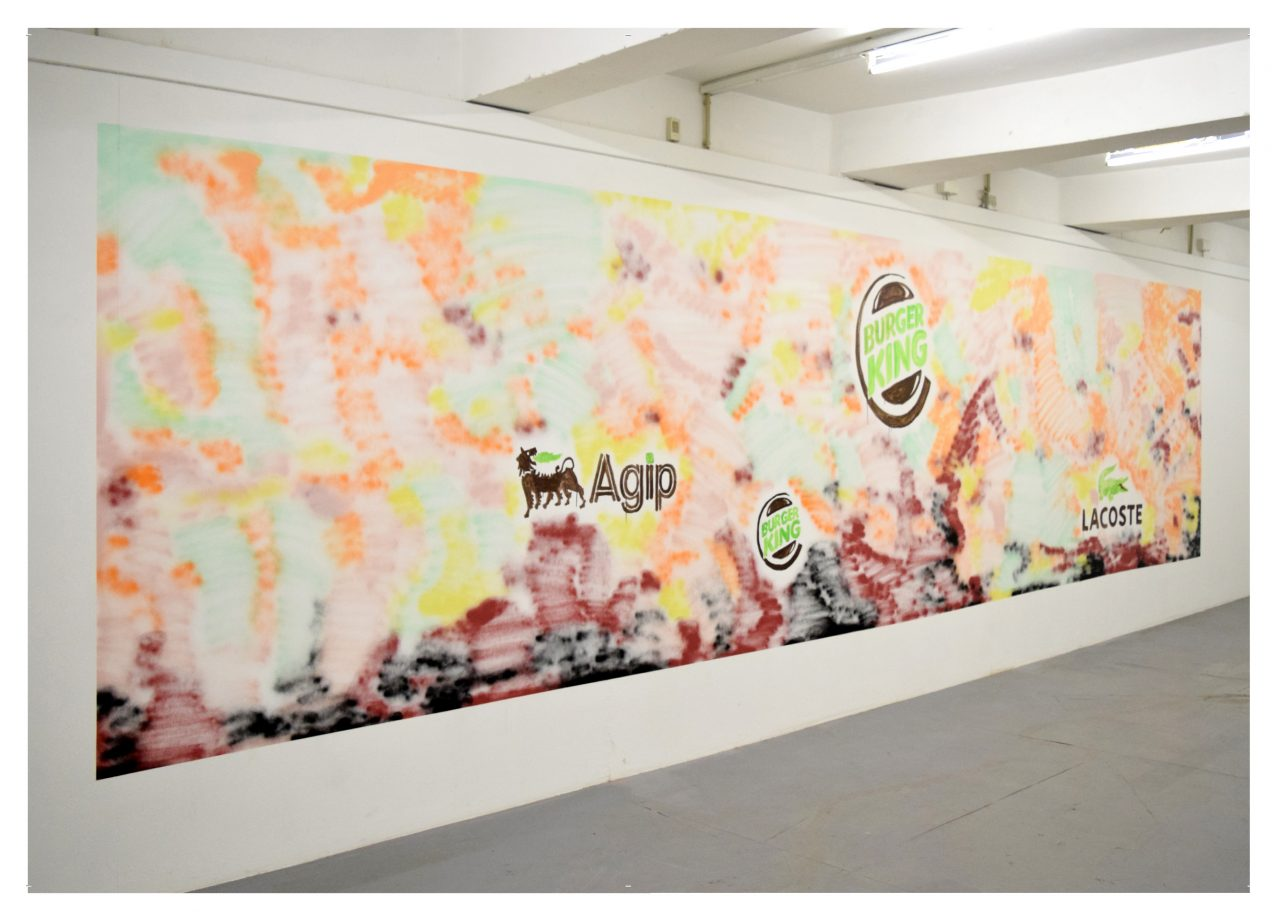 Mondlandung, Acryl on wall, 7 x 2,5 m
