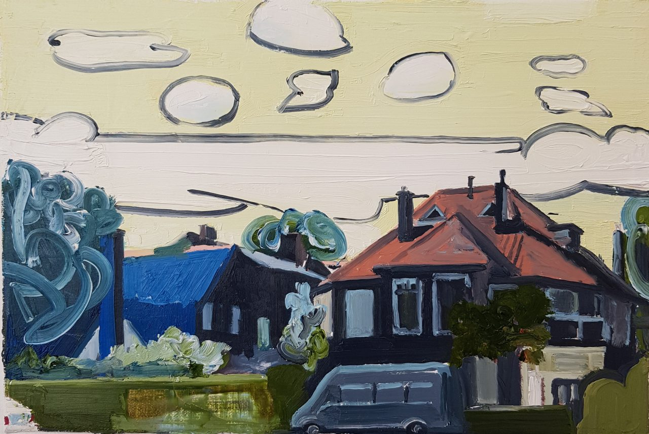 Landscape with two villa's, 2018. Oil on linen, 25x30cm, Price: