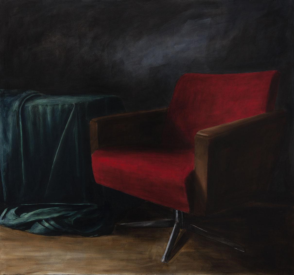 """alles einpacken"", 2017, 120 x 130 cm, öl/ Leinwand"