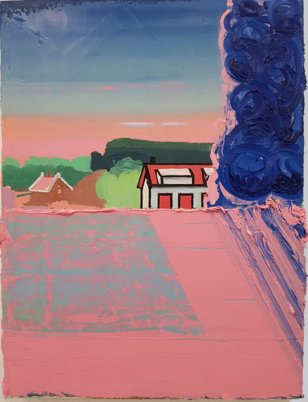 Albert Zwaan - Dike House VI, 2018. Oil on linen, 40x30cm