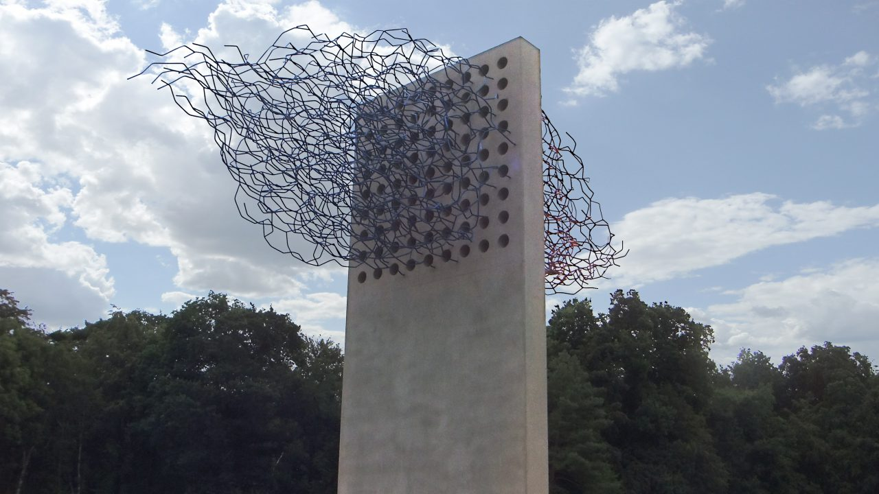 """STREAM"", concrete, stainless steel, painted, 4.3 x 6 x 2 meters, Forschungszentrum Jülich, 2016"