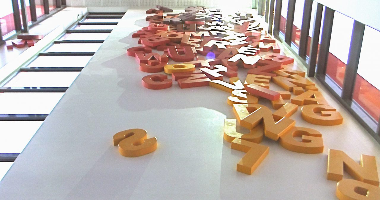 """""""Schattenriss"""", Contour shadows of 120 different colored letters, 4x 14x 0.3 meters Marion-Dönhoff-Realschule in Wissen, 2014"""