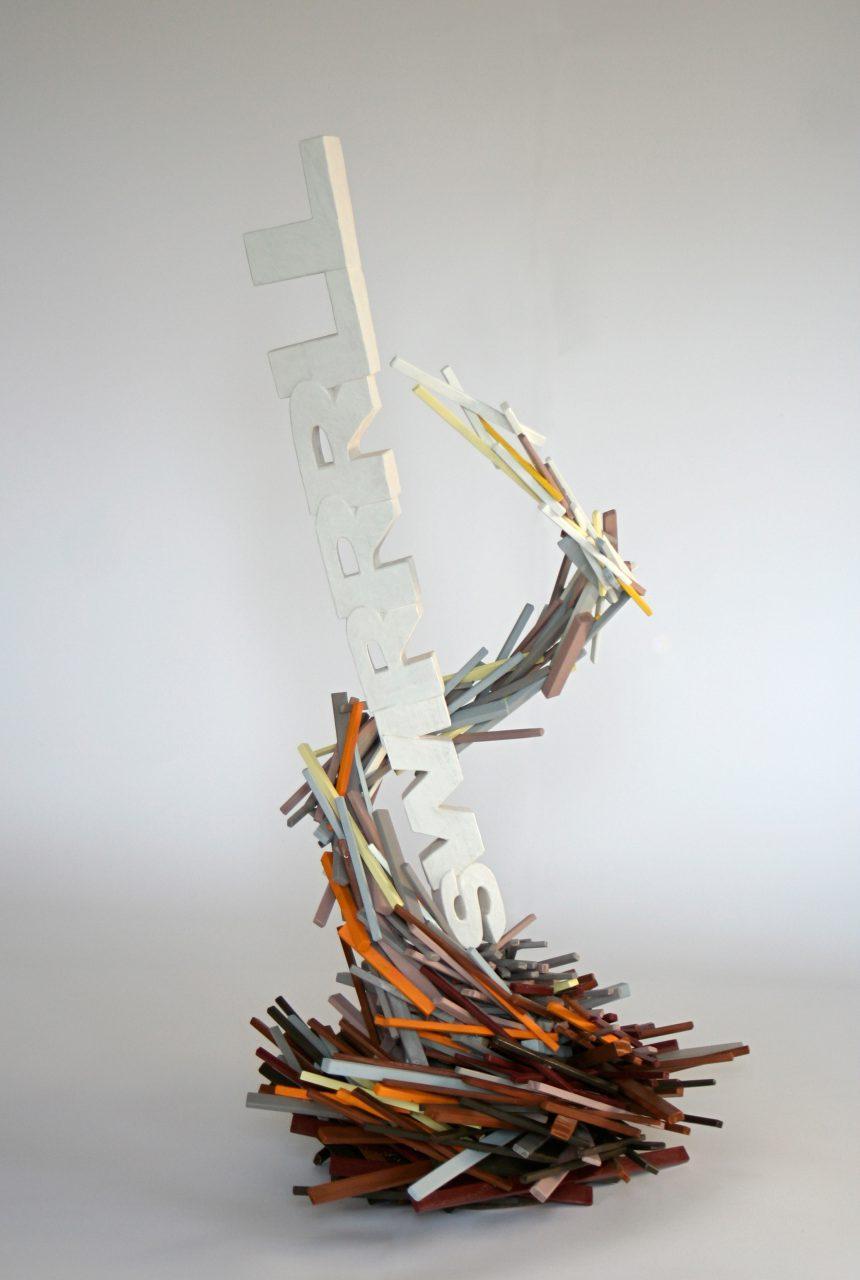 """""""SWIRRRLL"""", skulptur, wood, paint, 60x 60x 110 cm"""