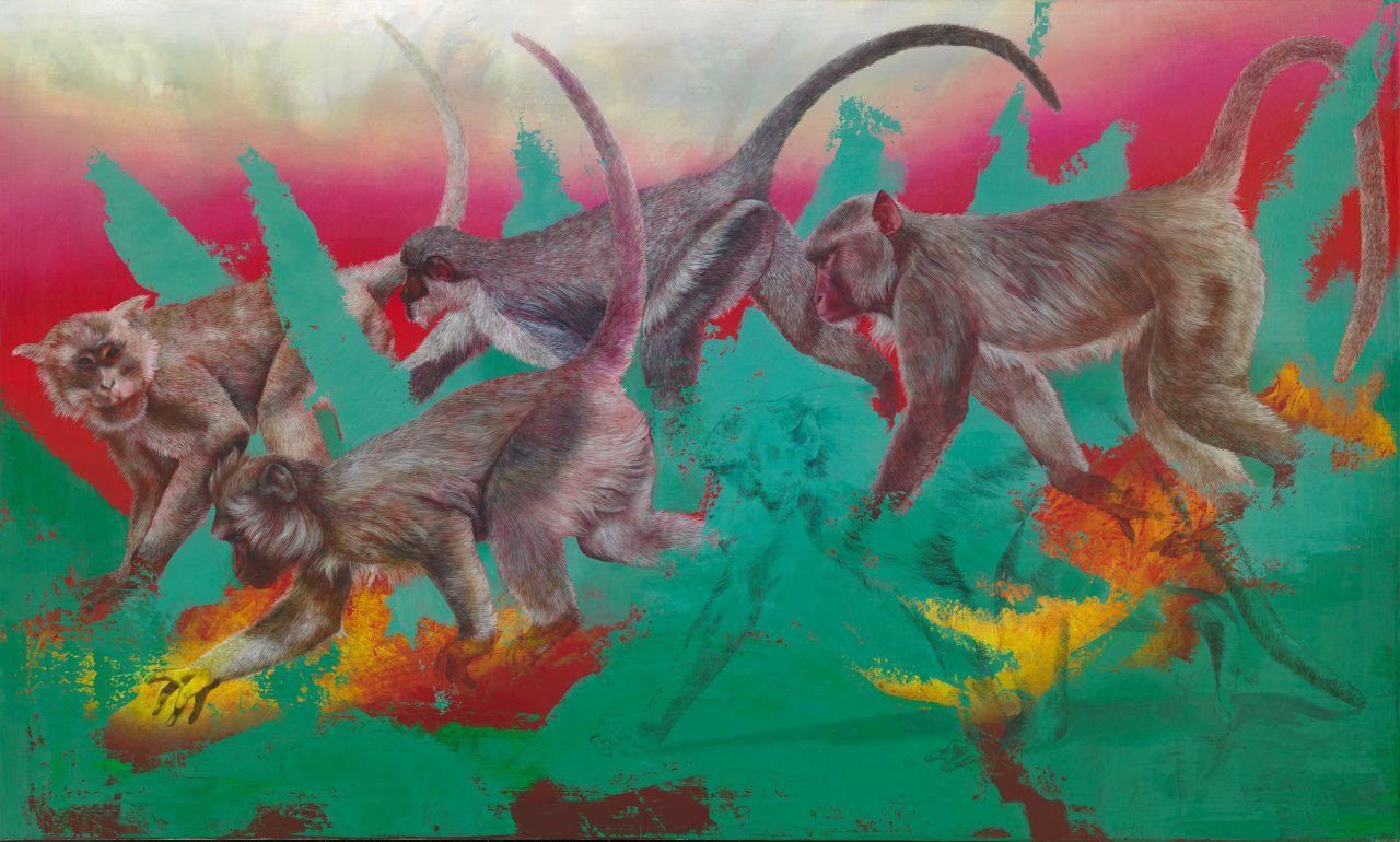 Affen (nach F.Marc) 2, 2019, oil on canvas, 90 x 150 cm