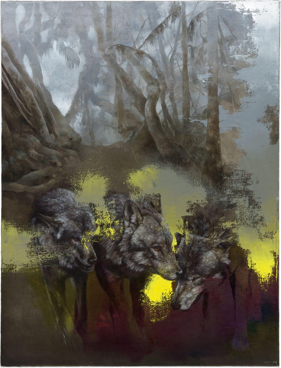 Drei Wölfe, 2018, oil on canvas, 101 x 77 cm