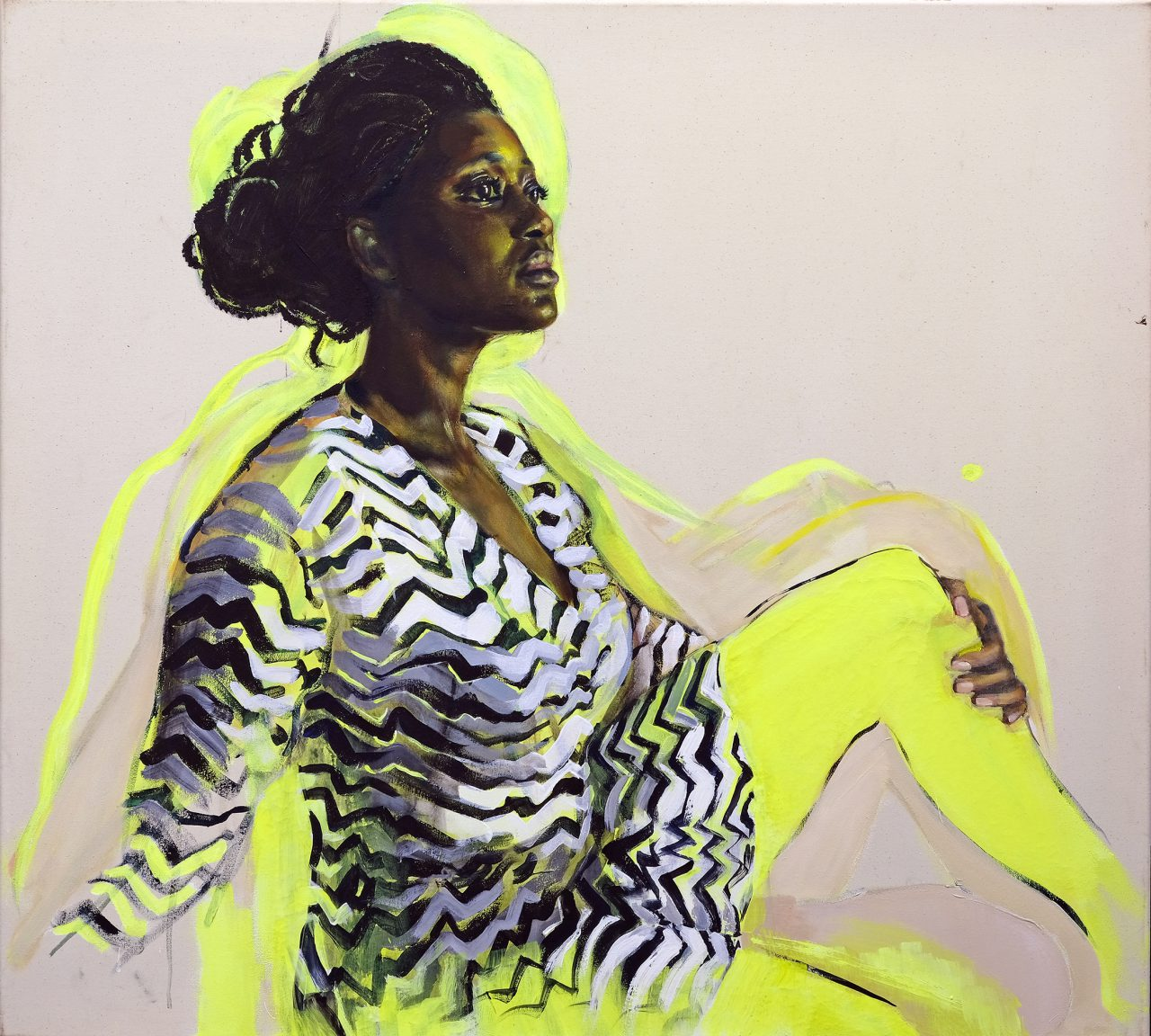 woman in stripped dress , 90x100cm,2018,oil and acryl on linen