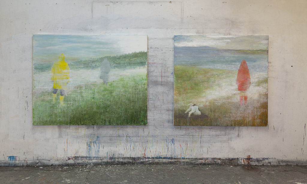 on the left: die Übergabe, 2014, 155 x 195cm / on the right: Entbergung, 2017, 155 x 160 cm