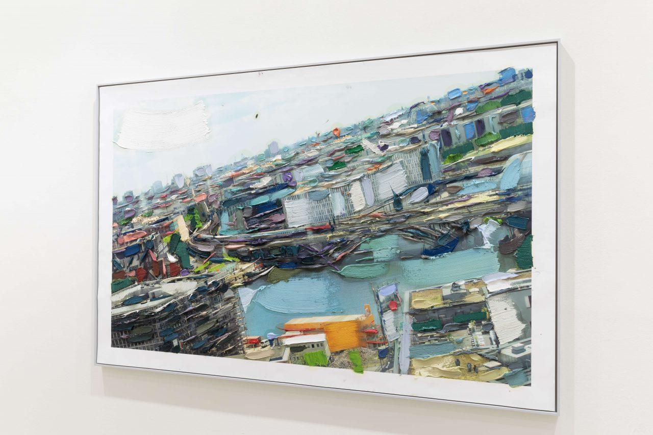 Das Problem mit der Durchsicht, 228 cm x 148cm, oil on fine art print on canvas, exhibition view, Galerie Krinzinger, Vienna