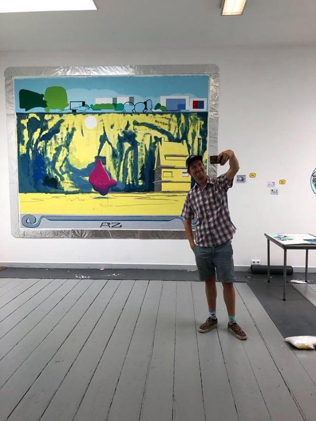 Guy, poses for my mural @ Teekengenootschap Pictura. . August, Dordrecht, Holland 2018