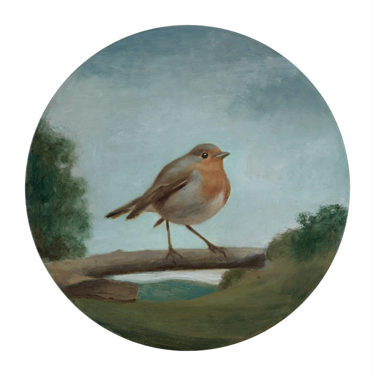 Robin, Oil on Canvas, Diameter 25 cm, 2018