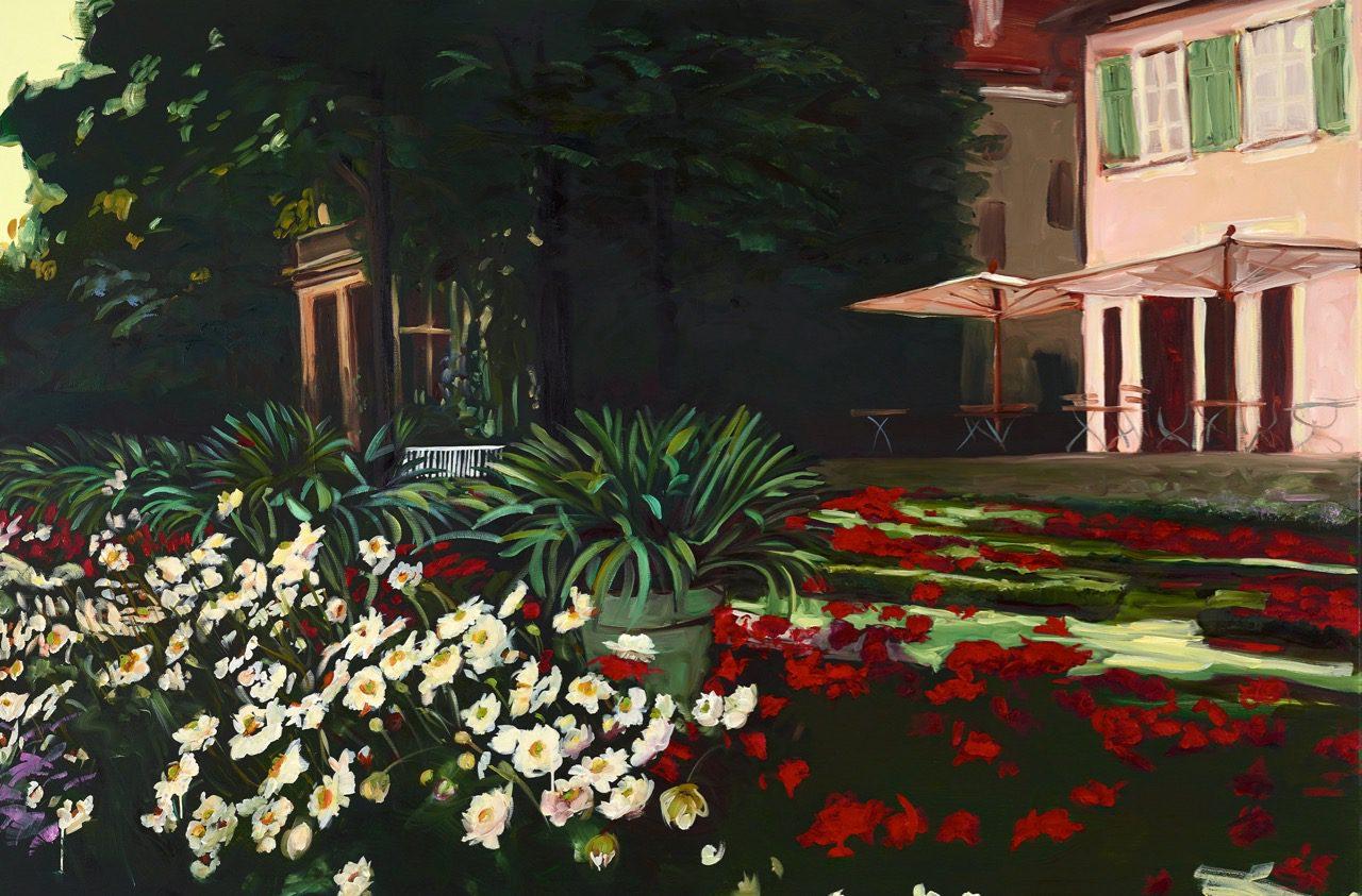 Ein Gespräch im Hause Liebermann, mit dem abwesenden Herrn Liebermann, 2016, Öl auf Leinwand, 120 x 180 cm