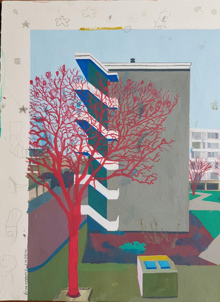 Flat Block in Zwijndrecht (Holland) 2019. Gouache, pencil & watercolor on paper, 31x23cm.