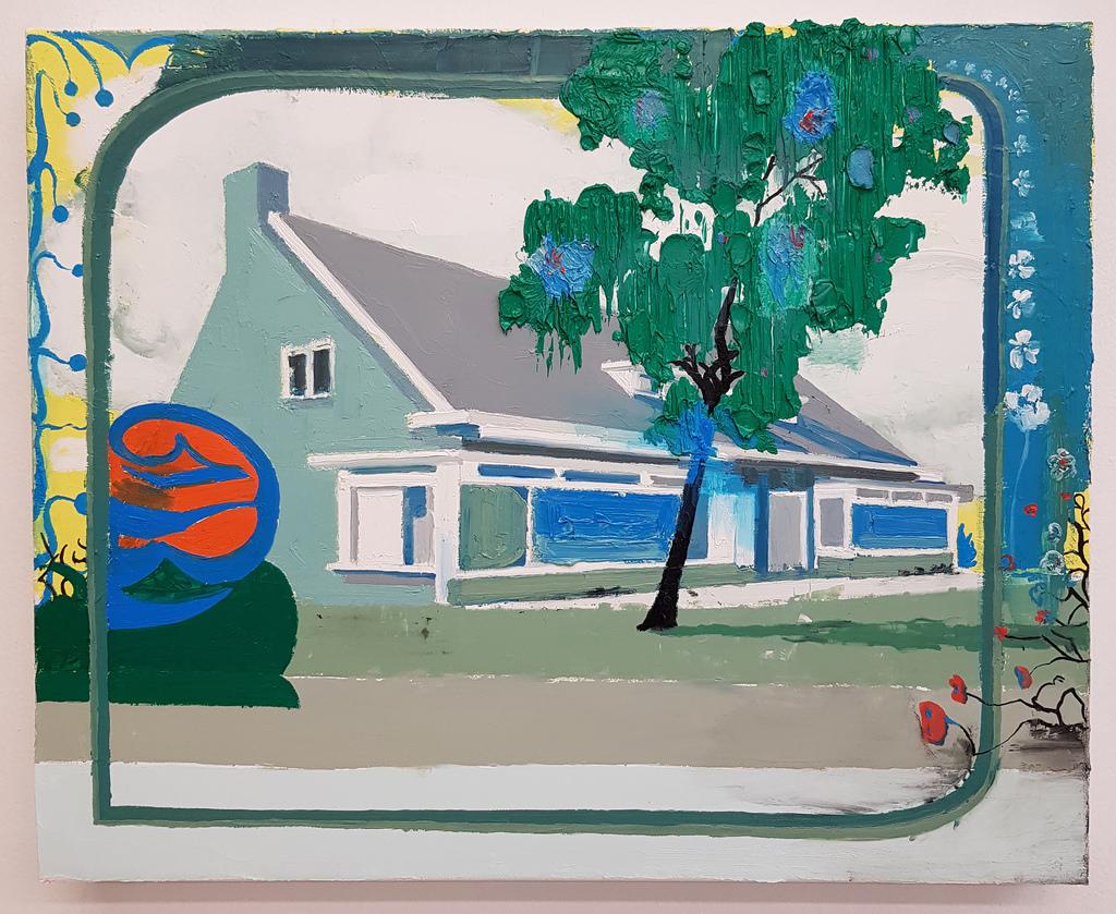untitled (house/neighbourhood store) 2018. Oil on linen, size: 50x60cm.   Albert Zwaan   available artwork