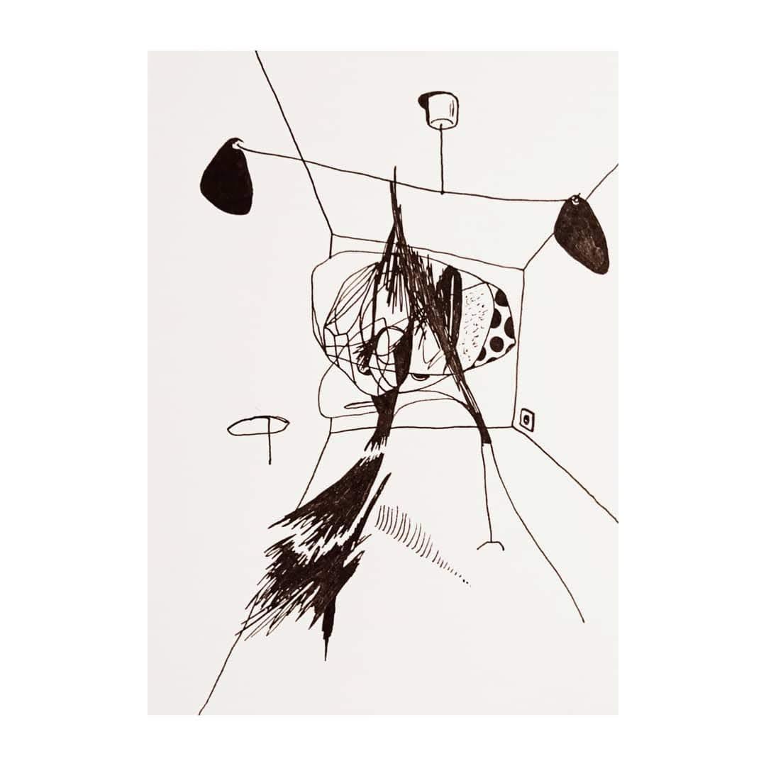 Calder, räum dein Zimmer auf, 2019, pigment ink on paper, 14,8 x 10,5 cm
