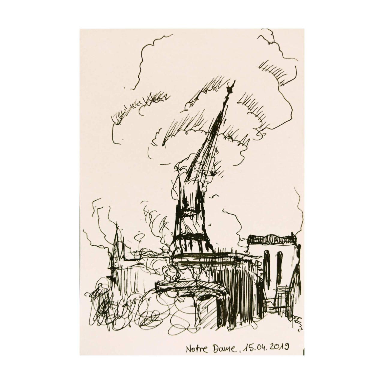 NOtre Dame 2019, pigment ink on paper, 14,8 x 10,5 cm