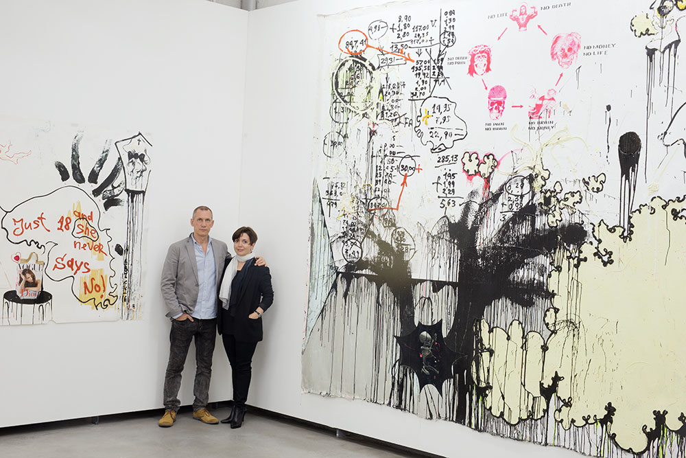Alexei Kostroma with his wife Ekaterina Kondranina during the opening of solo show ANTICIPATION at Kuenstlerhaus Bethanien, 2014. Photo by Vladimir Sichov.