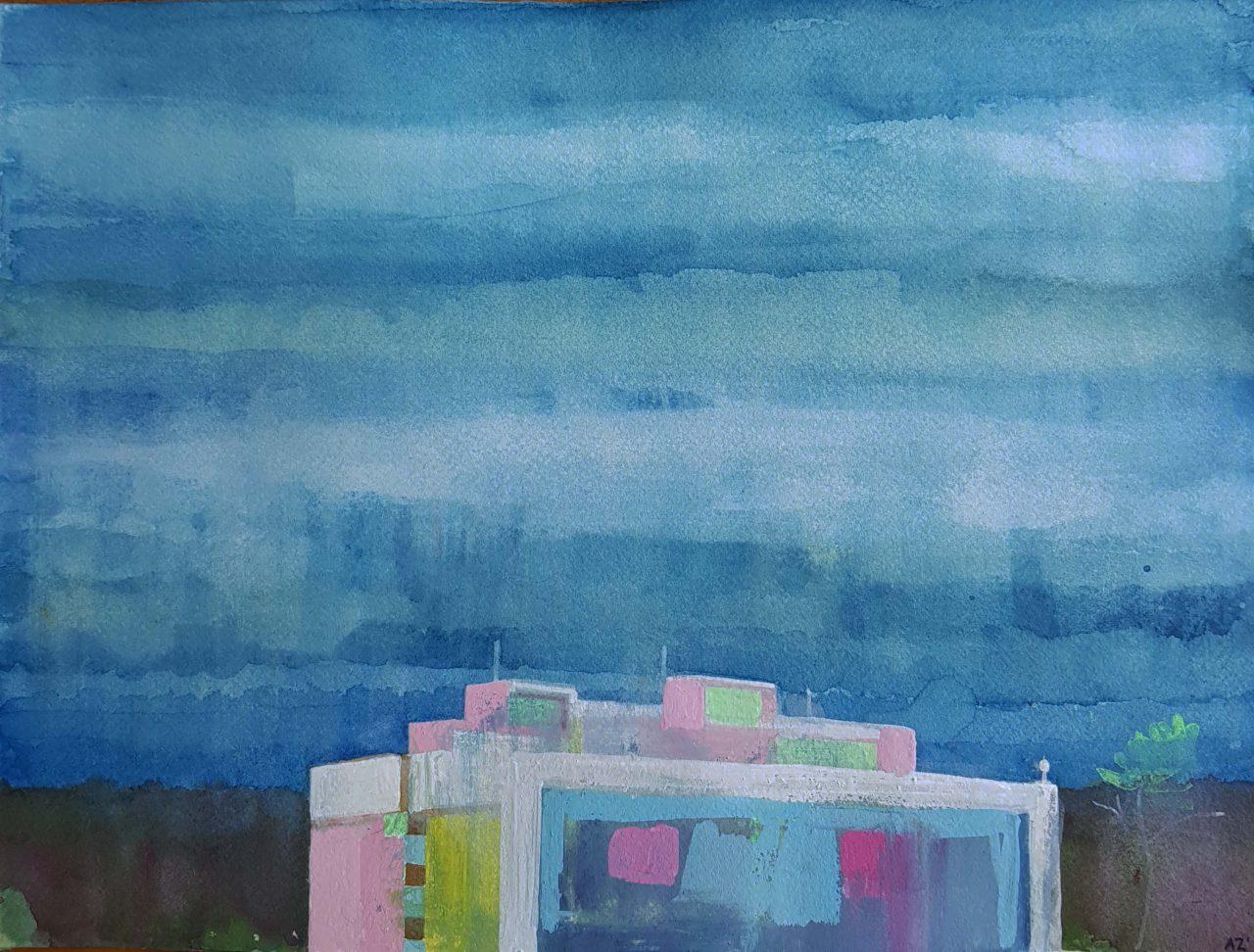 Top of a building, against a gray-blue sky, 2019. Gouache/aquarel 23x30,5cm