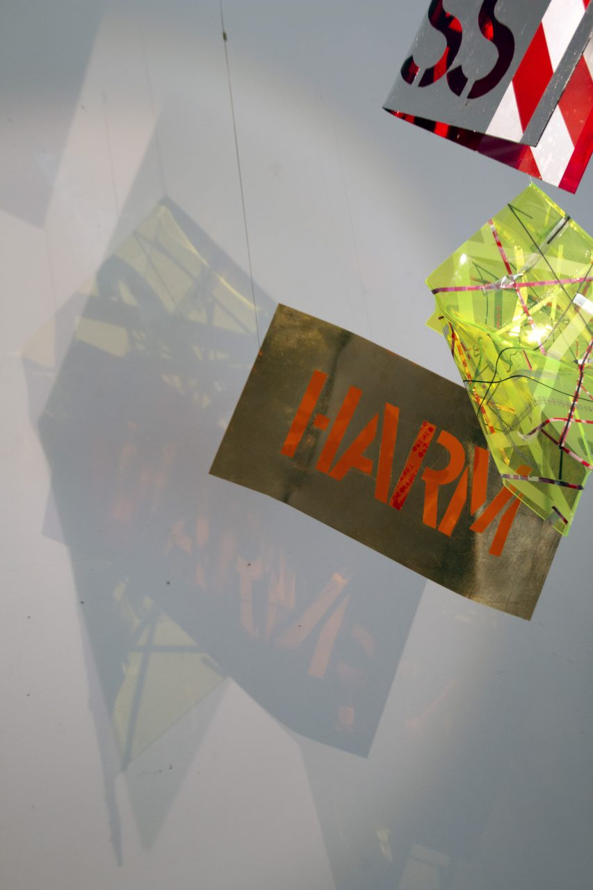 harm_less//, 250cm x 150cm x 150cm, installation, 2019, translucent acrylic glass, leaf metal, self adhessive tape, vinyl, turning motor, led light