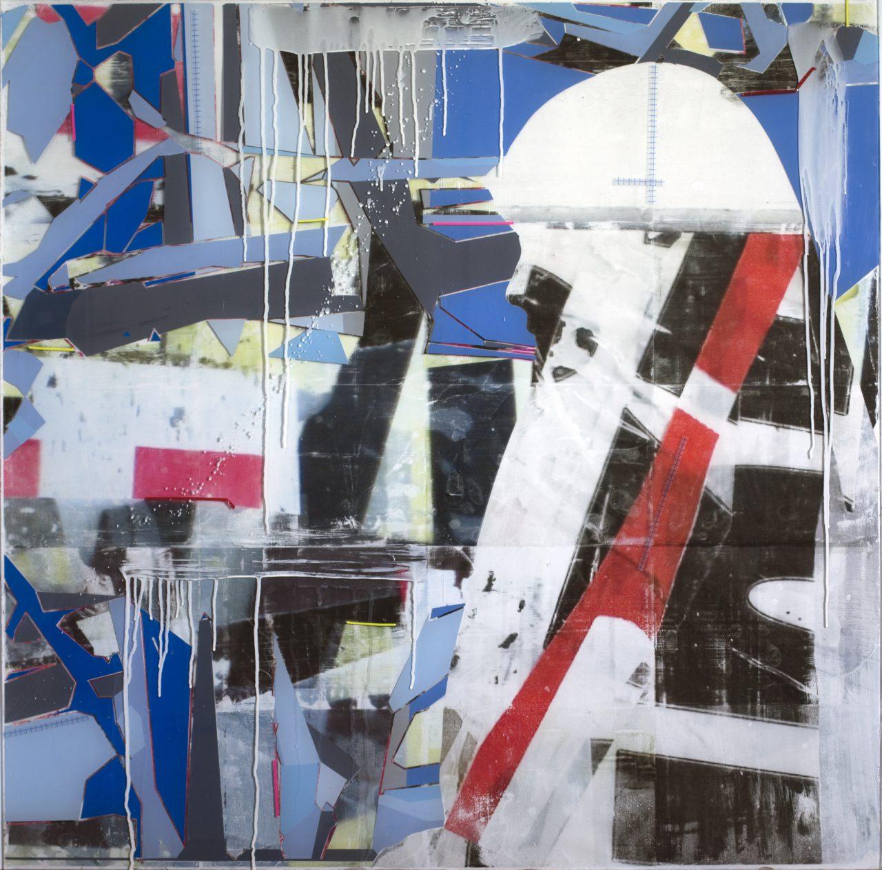 Dangerous minds #2, 112cm x 112cm x 0,6cm / Acrylic paint, image transfer, vinyl, self adhessive tape on transparent acrylic glass.