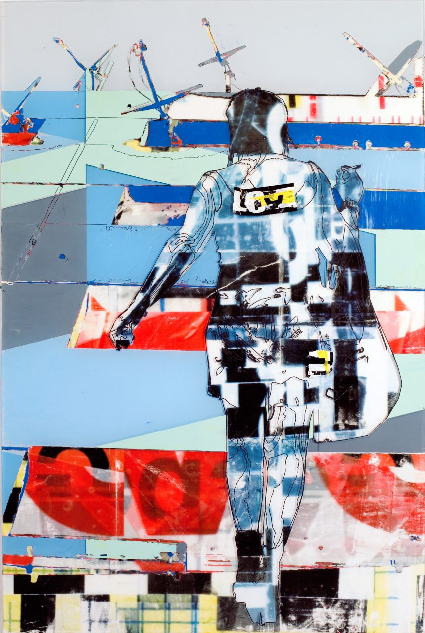 Stolen_moments, 112cm x 75cm x 0,6cm, 2016 / Acylic paint, image transfer, self adhessive tape on transparent acylic glass