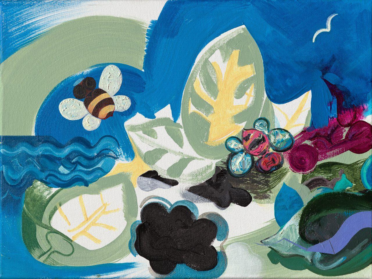 Garden of Hymenoptera | Original title: Tuin der vliesvleugeligen 2019 | 29 x 40 cm. Acrylic and oil paint on canvas