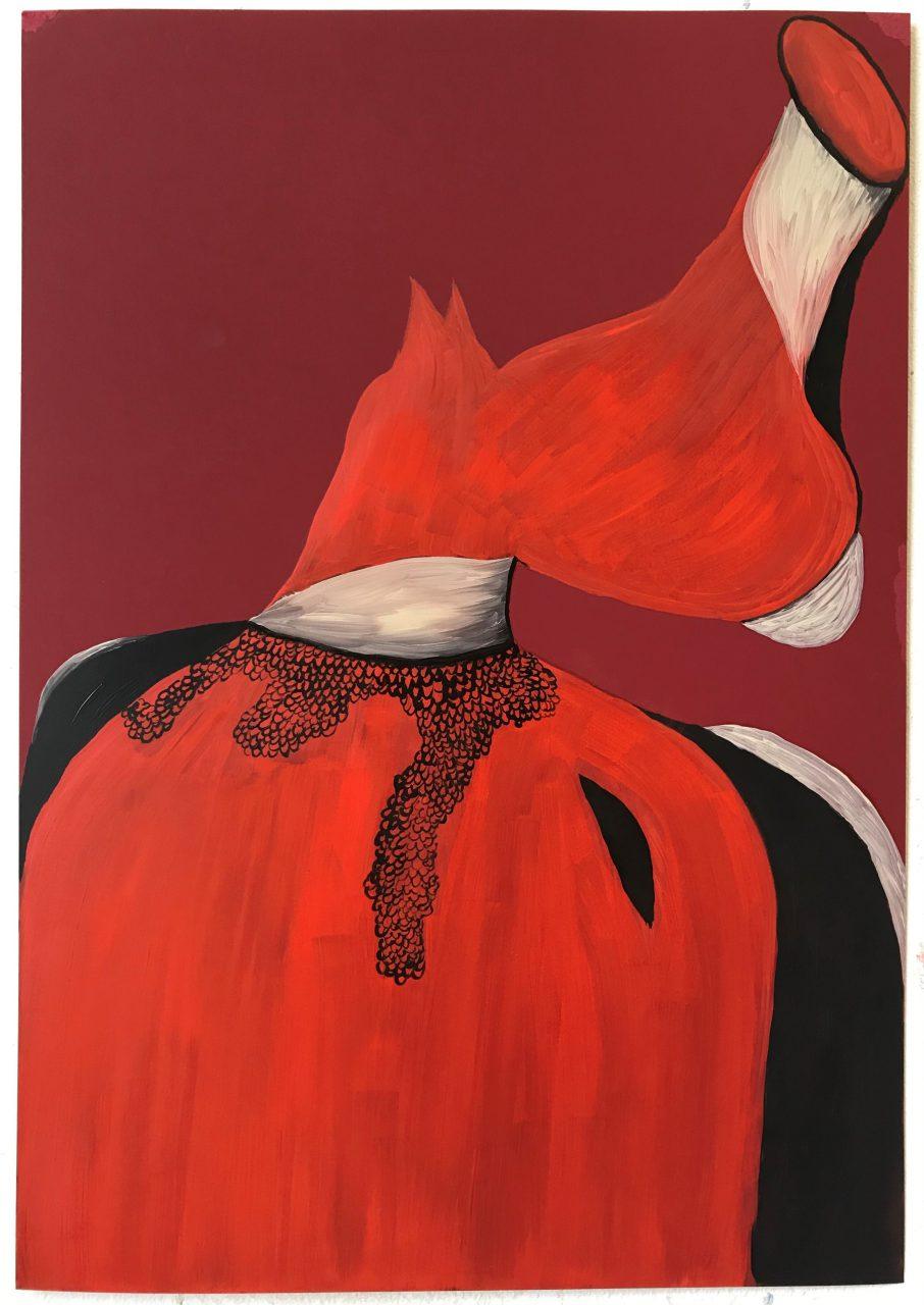 'Horse in a Cloak' oil on paper