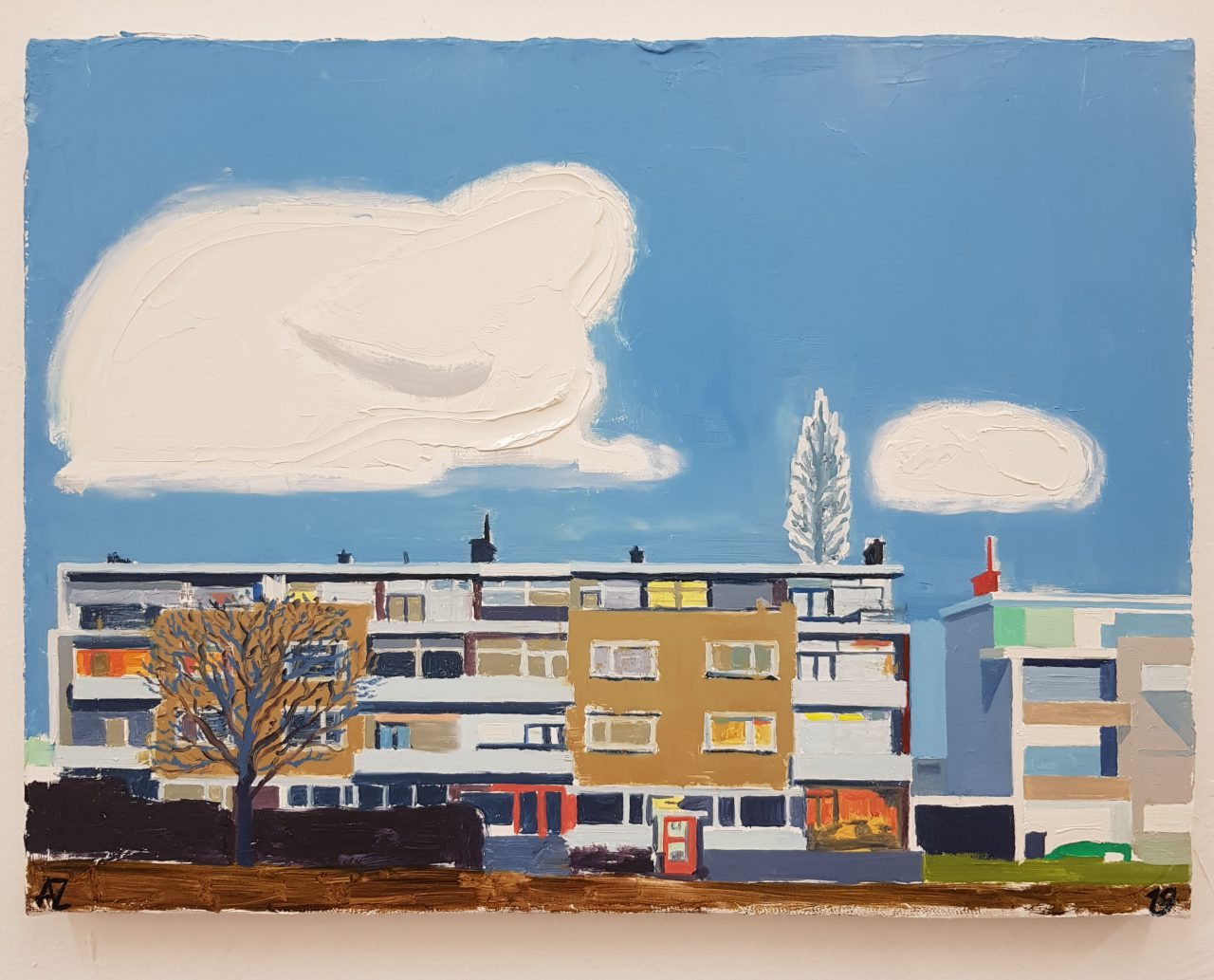 Dutch Landscape with apartment buildings, 2019. Oil on linen, 30x40cm.