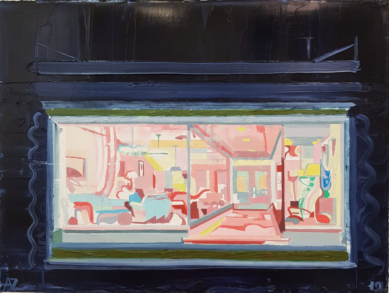 Shop window at night in 1938. Oil on linen, 2019, 30x40cm