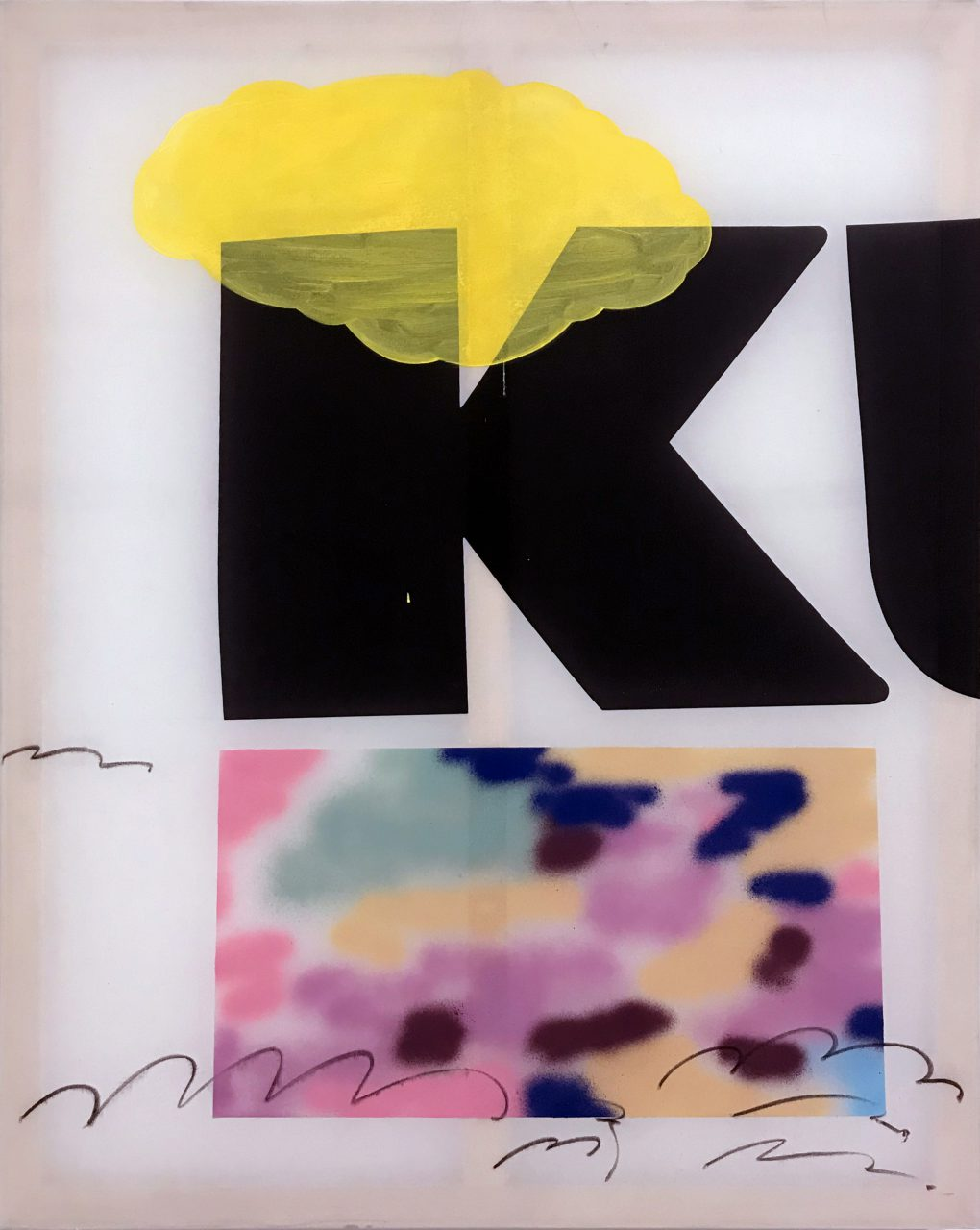K Love, Mixed Media on Flag