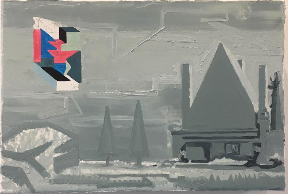 Winterlandschaft mit einer Villa, 2019. Oil on linen, 20x30cm