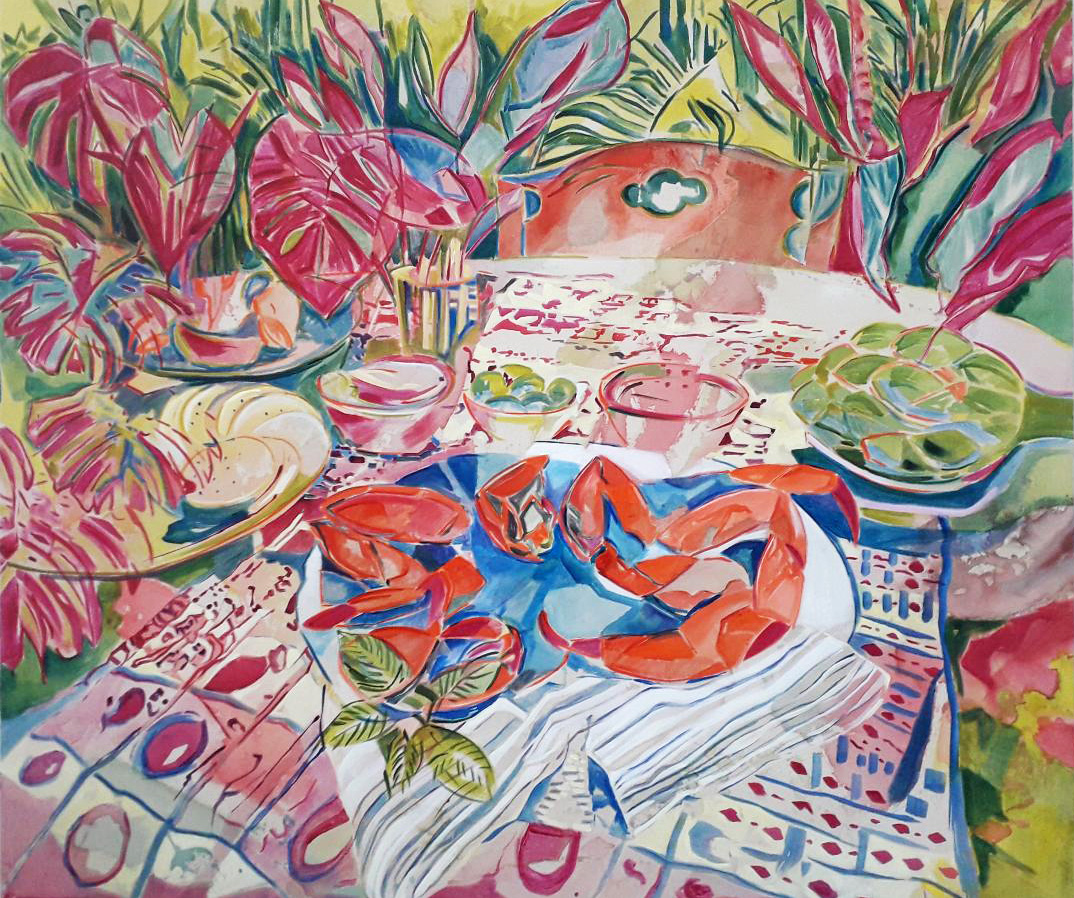 Crab Dinner, acrylic on canvas, 120x140cm, 2019