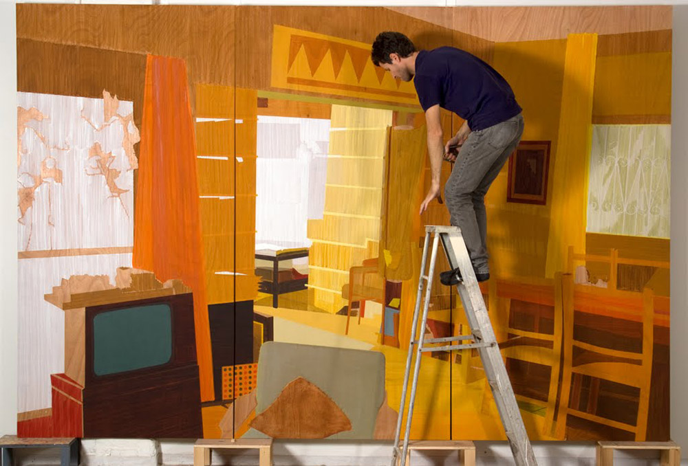 Herzliya pituach living room, 2007, oil on plywood, triptychon 244X366 cm