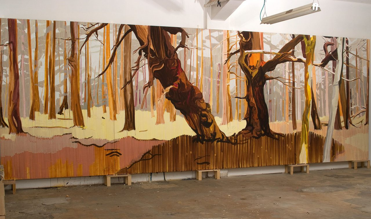 Hornby, 2007, oil on plywood, 255X732 cm (four parts)