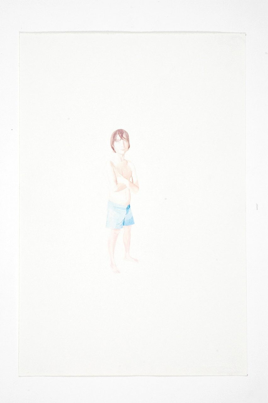 Yonatan with wet hair, 2004, water color on paper, 55x36 cm