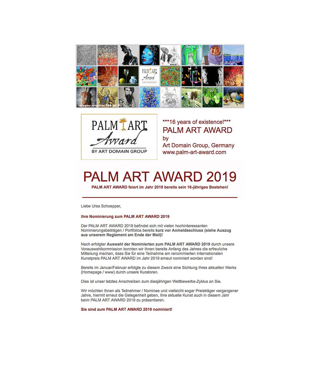 Nomination Palm Award 2019 image