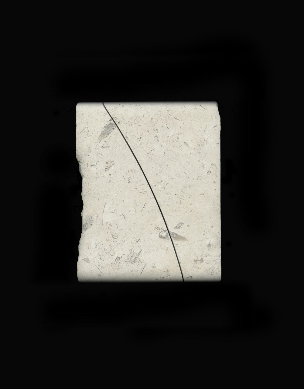 UNTROUBLED LINE – small (after Iris Murdoch) 2019 Lincolnshire limestone – silverbed 18.5 x 14.6. x 2.5 cm