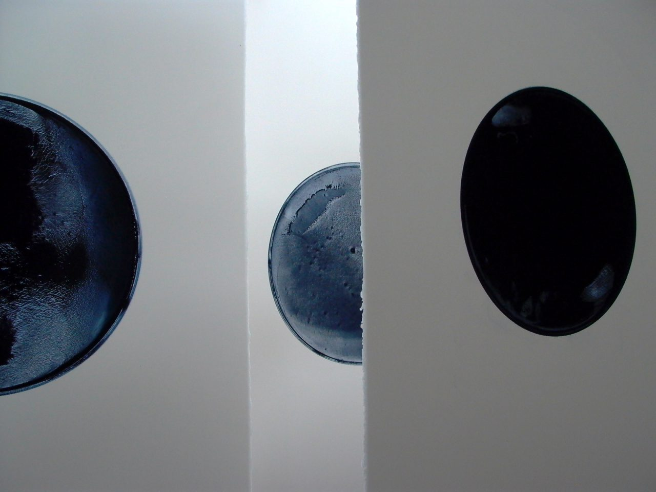 Studio: work in progress, oil pigment on 100% cotton fibre, each sheet 101.0 x 73.7 cm, Ø 36.6 cm