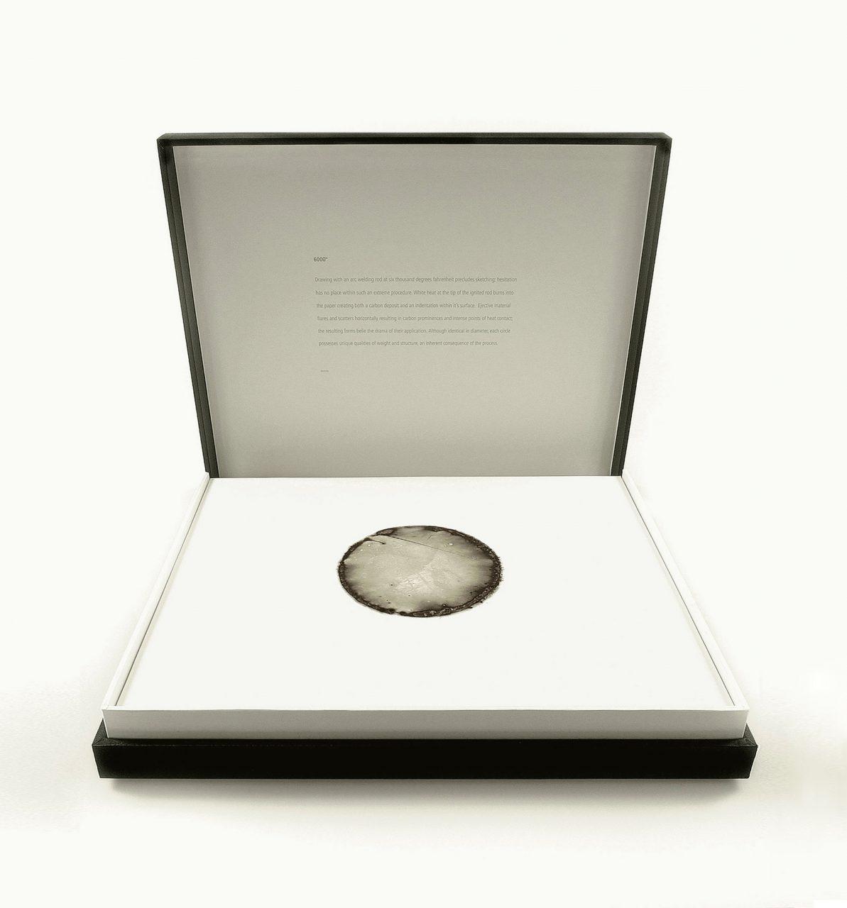 6000º, 2006 six thousand degrees fahrenheit on cotton fibre housed within archival Solander case 43.0 x 52.4 x 7.3 cm