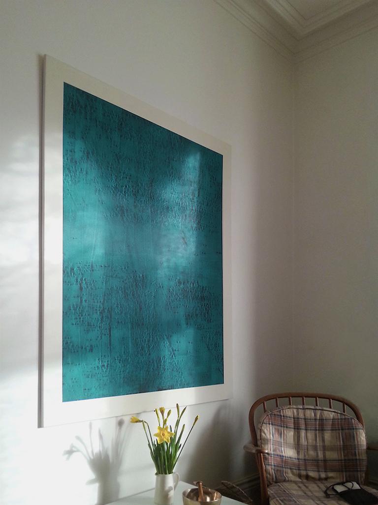 CONTINUOUS NOW turquoise (IV) 2012, pigment dispersal on 100% cotton fibre 147.5 x 108.5 cm