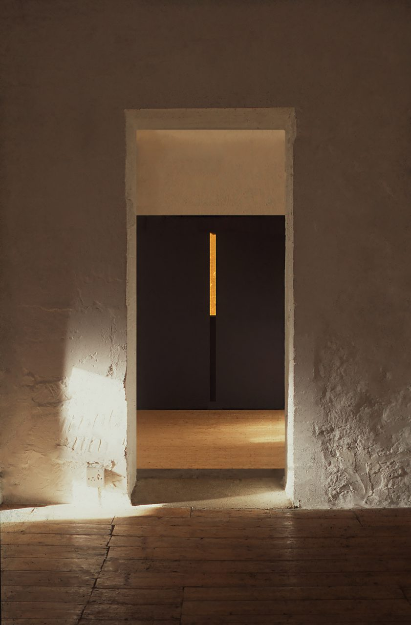 PRIMORDIUM, 1995, Cairn Gallery, Gloucestershire, UK, charcoal powder and gold leaf on wall