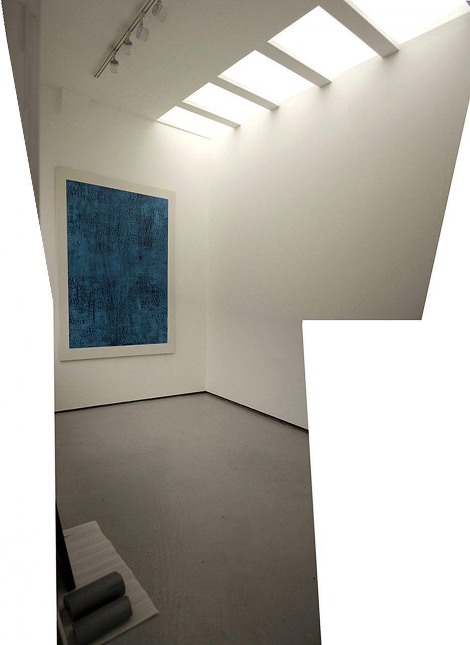 Studio: CONTINUIOUS NOW turquoise (IV) 2012, pigment dispersal on 100% cotton fibre 147.0 x 108.0 cm