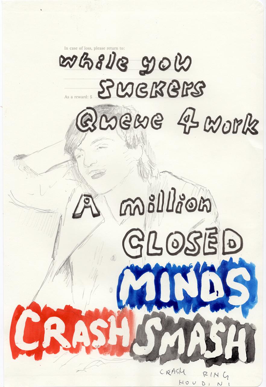 Crash smash 2019 – 29,7 x 20cm, watercolour, pencil, pen on paper