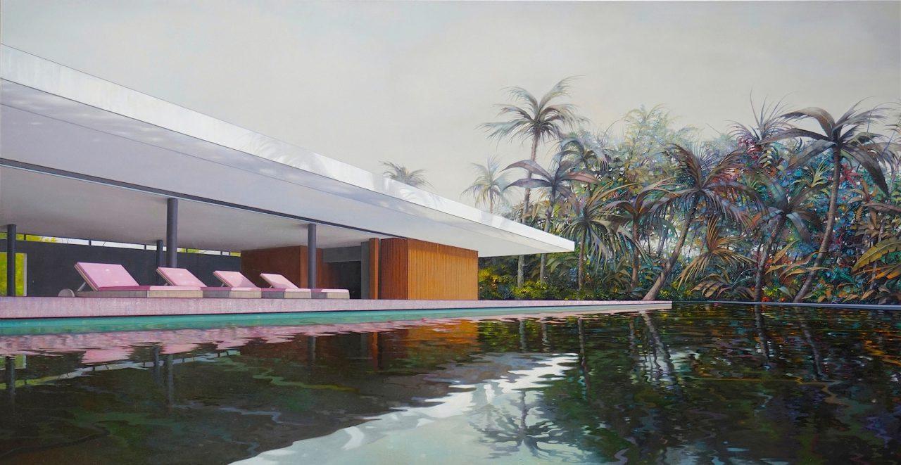 modern house, nr. 26 / the garden - 135 x 260cm - Öl / Lw. - 2018