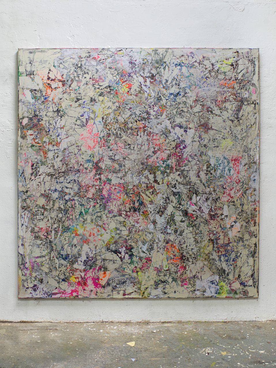 2018, Acryl, Spraypaint, Papier, Leinwand, Keilrahmen 240 x 220 cm