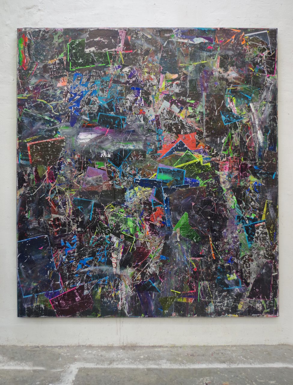 2019, Acryl, Spraypaint, Papier, Leinwand, Keilrahmen 220 x 200 cm