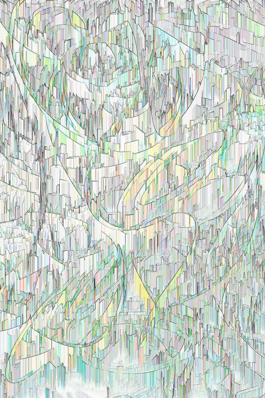 Stadtlandschaft2, Farbpigment auf Aludibond, matt, 2019, 120 cm x 80 cm, Unikat, rückseitig signiert, auf Wunsch auch kleiner