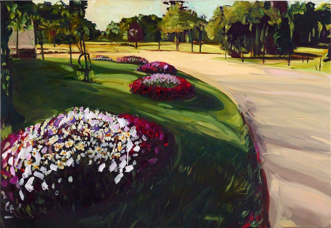 Schlosspark, eine Ecke im Sommer, 2019 Öl auf Leinwand, 90 x 130 cm