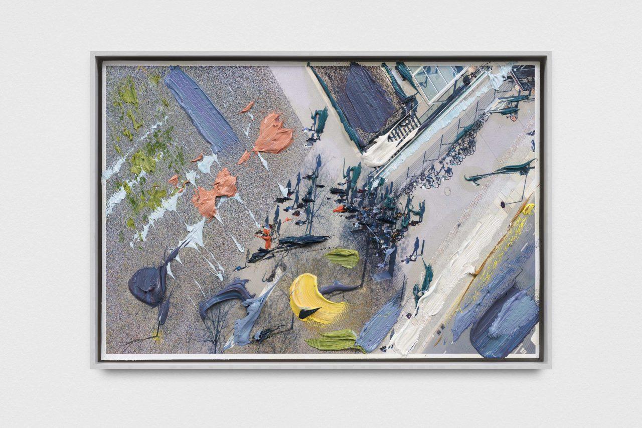 Thomas Cook, 40,5 x 27,5 cm, 2019, Oil on fine art print on canvas, exhibition view, Carlier   Gebauer, Berlin