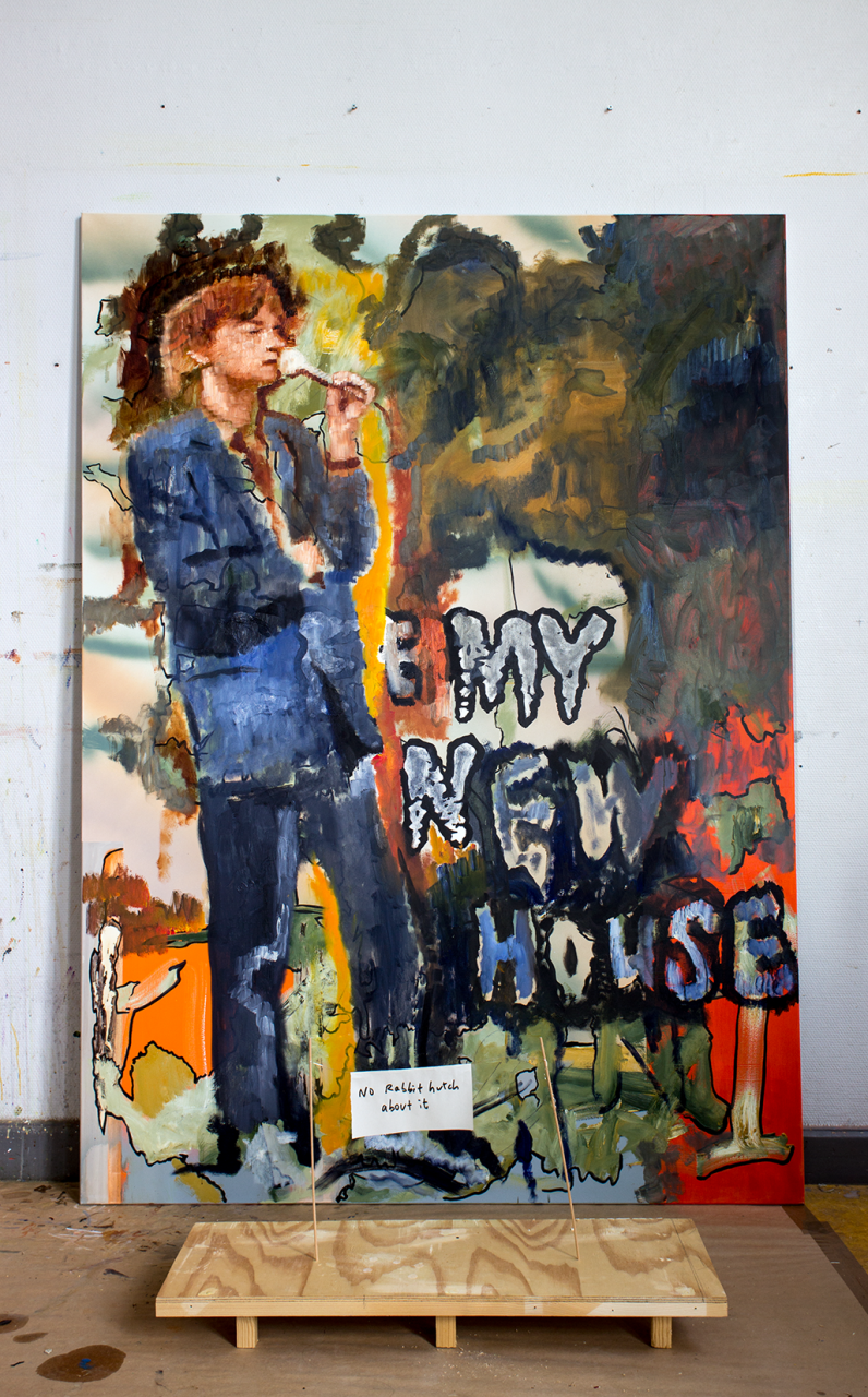 My New House 2019/20 – 200 x 140cm, oil and acrylic on canvas. 45 x 84 x 29cm, wood, paper, wire, marker pen